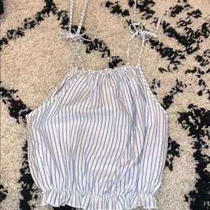 brandy melville blue and white stripped shoulder t